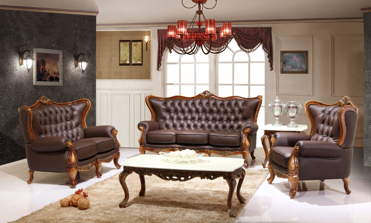 Victorian Leather Sofas For Recent Victorian Living Room Design With Dark Brown Leather Sofa And (View 15 of 20)