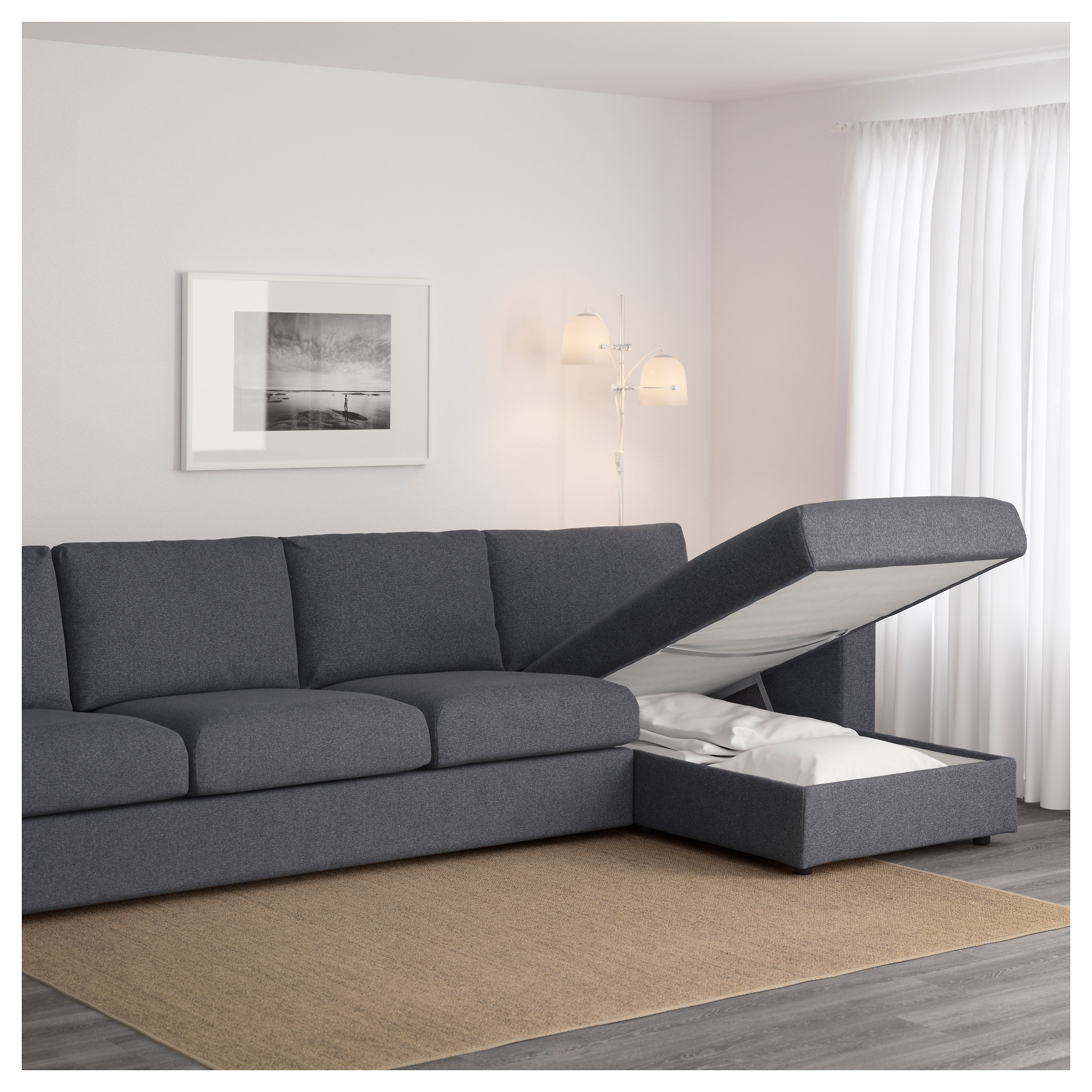 Vimle 4 Seat Sofa With Chaise Longue/gunnared Medium Grey – Ikea Intended For Latest 4 Seat Sofas (View 8 of 20)