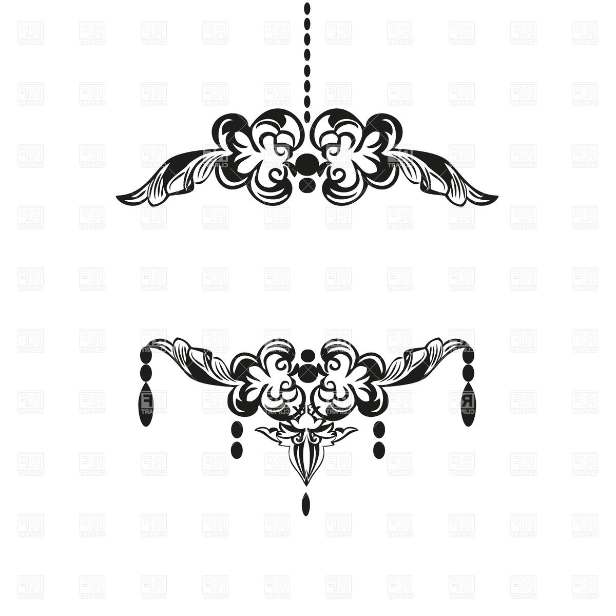 Vintage Black Chandelier Intended For Most Popular Black Vintage Chandelier Silhouette Royalty Free Vector Clip Art (View 14 of 20)