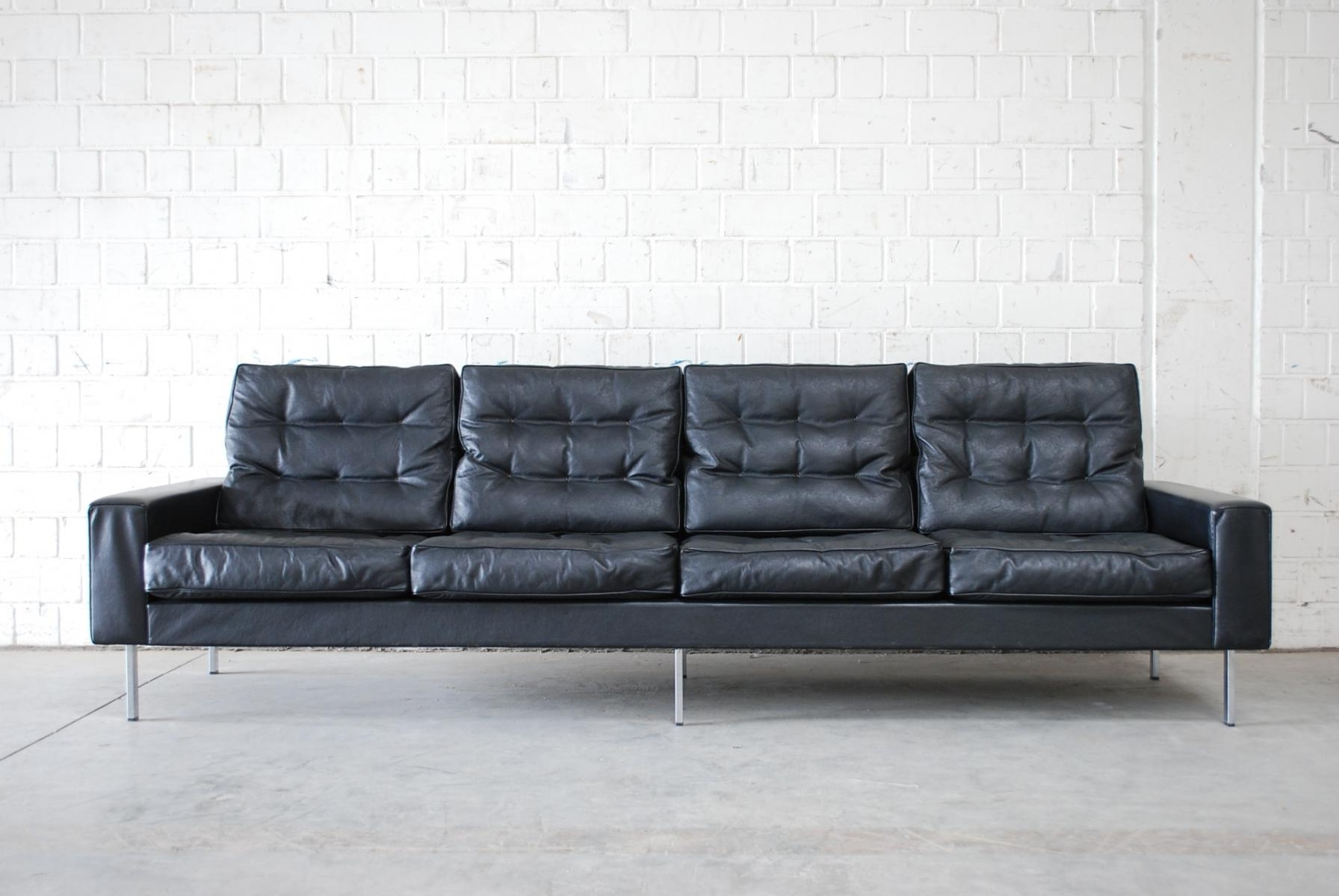 Vintage Black Leather 4 Seater Sofa From De Sede, 1967 For Sale At In Favorite Four Seater Sofas (View 17 of 20)