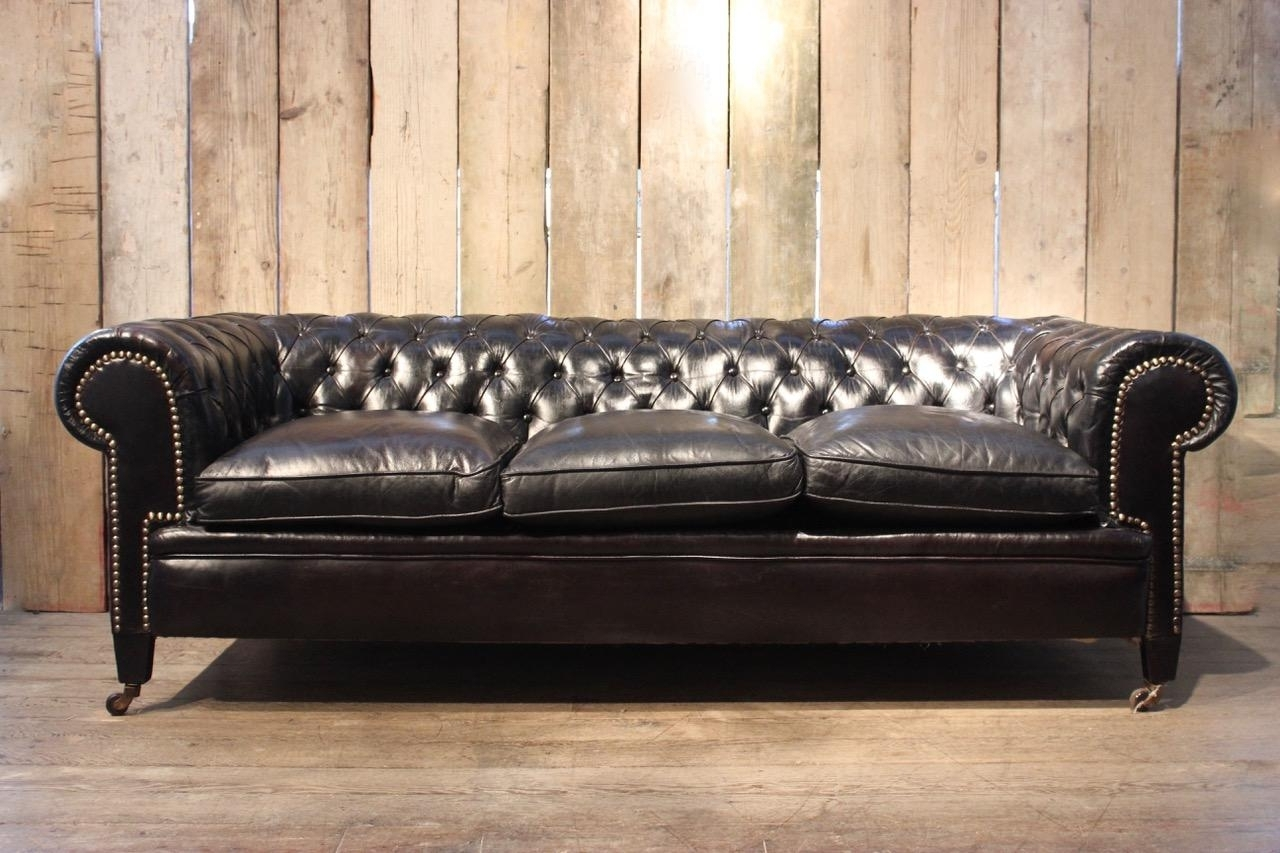 Vintage Black Leather Chesterfield Sofa For Sale At Pamono With Regard To Popular Vintage Chesterfield Sofas (View 10 of 20)