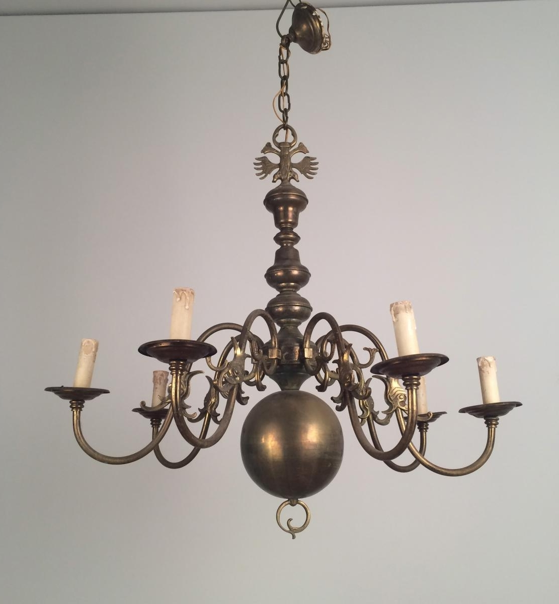 Vintage Brass Chandeliers With Most Current Vintage Bronze And Brass Chandelier, 1940S For Sale At Pamono (Gallery 1 of 20)