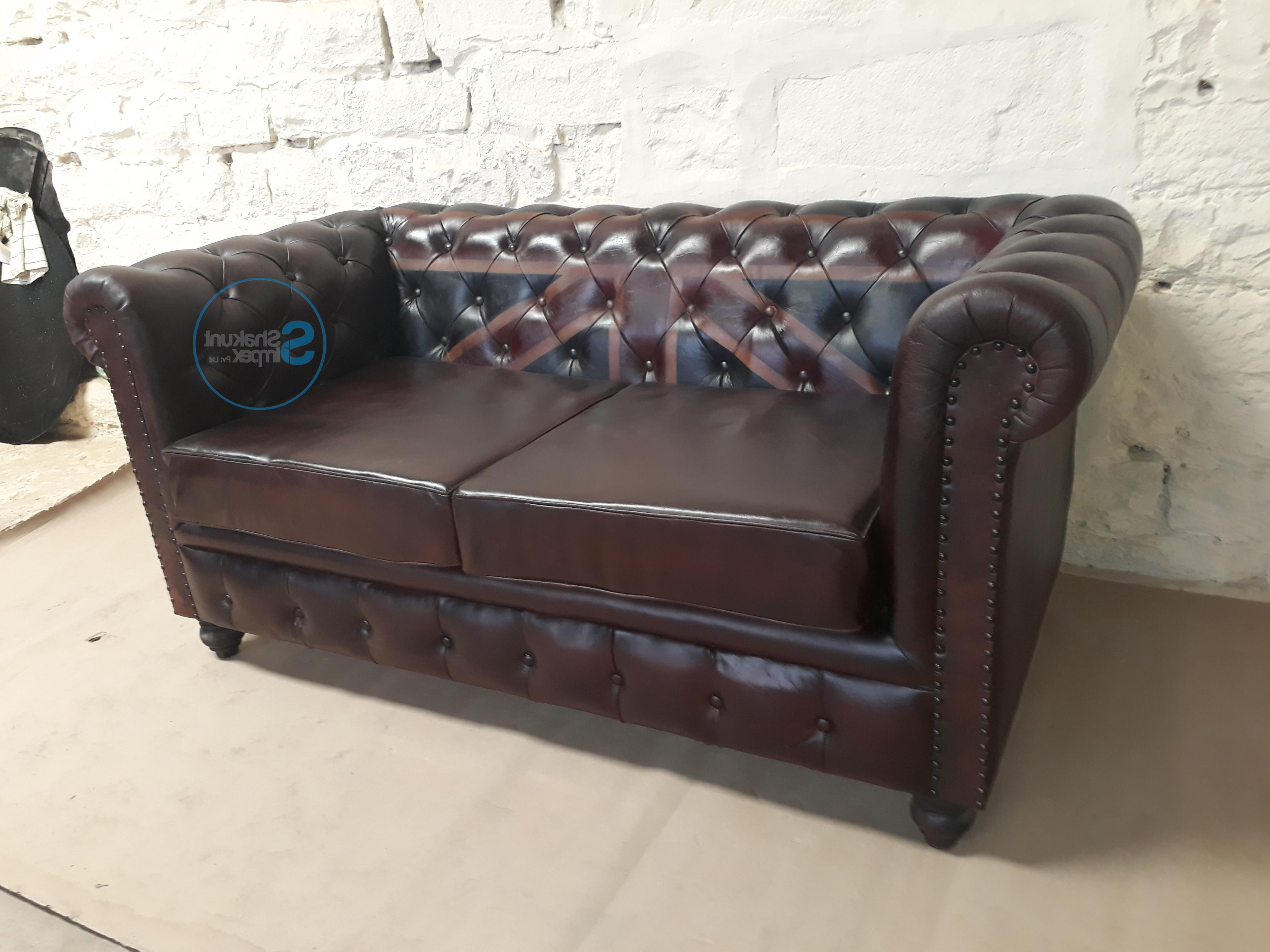 Vintage Chesterfield Sofas Intended For 2019 Vintage Leather Chesterfield Union Jack Sofa – Shakunt Vintage (View 10 of 20)