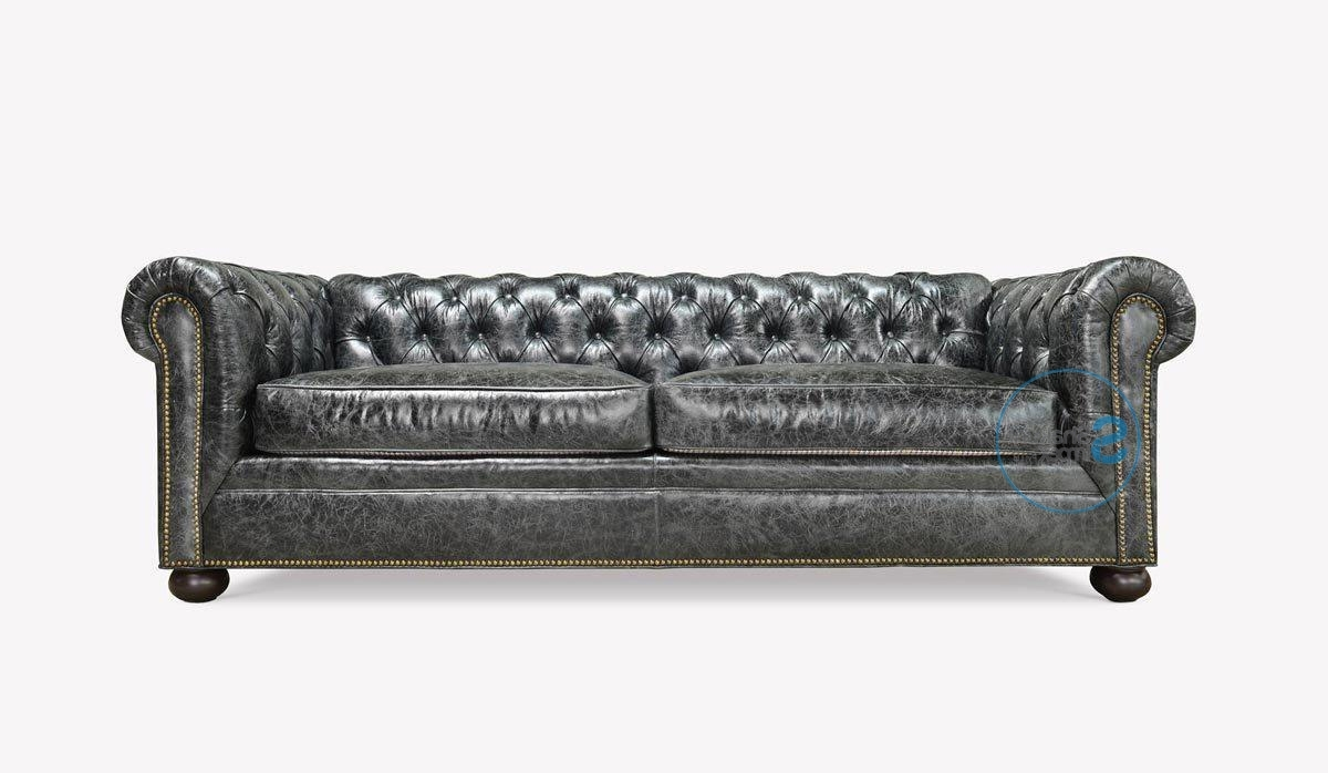 Vintage Chesterfield Sofas Regarding Most Recently Released Vintage Finish Top Grain Leather Grey Chesterfield Sofa – Shakunt (Gallery 13 of 20)