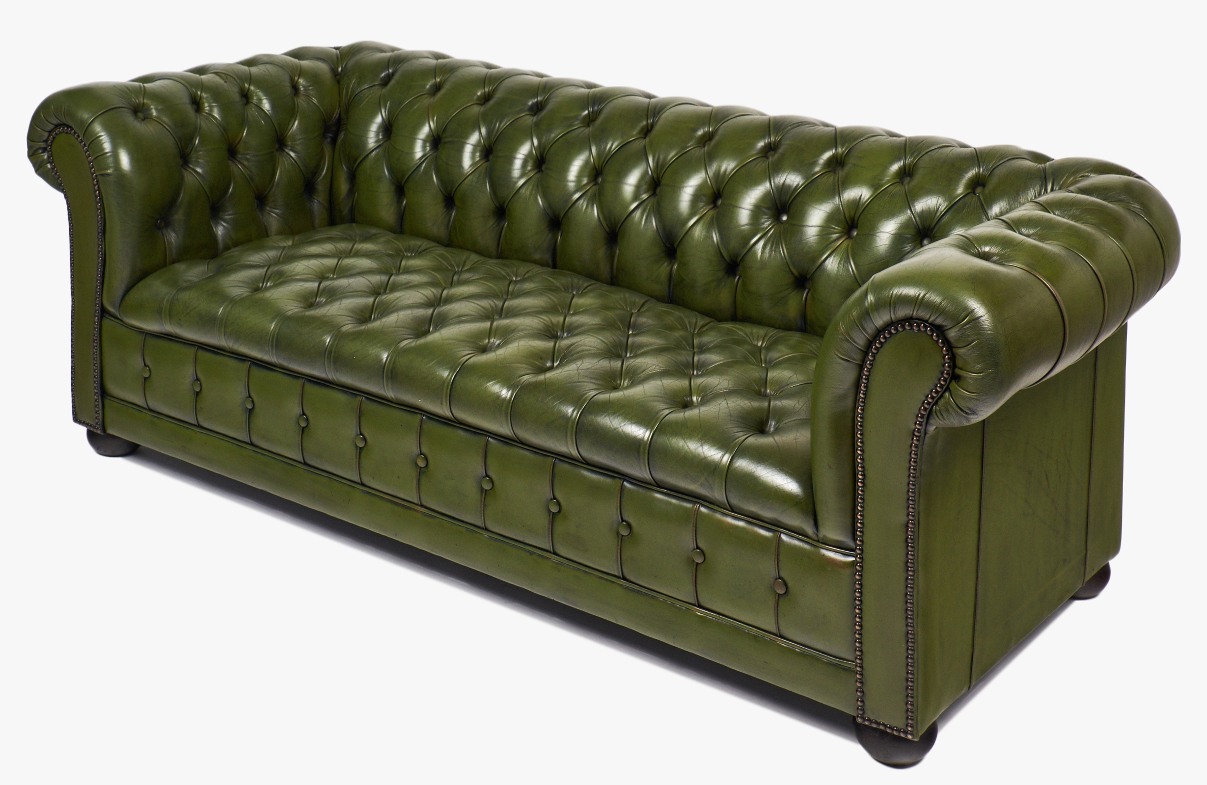 Vintage Chesterfield Sofas Throughout Most Recent Vintage Green Leather Chesterfield Sofa – Jean Marc Fray (Gallery 12 of 20)