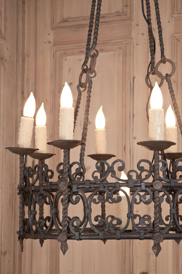 Vintage Country French Wrought Iron Chandelier – Vintage Wrought For Widely Used Vintage Wrought Iron Chandelier (View 12 of 20)