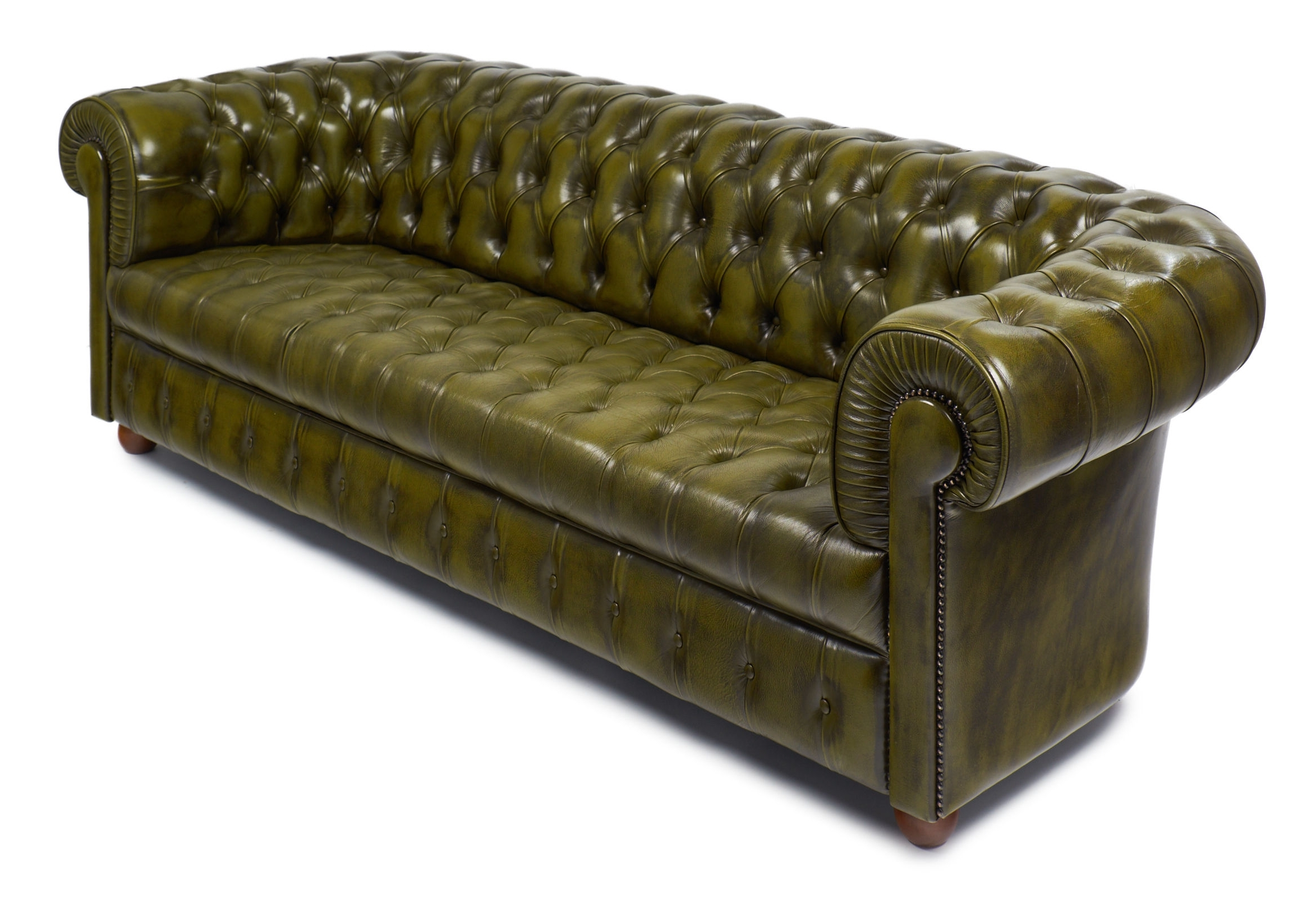 Vintage Green Leather English Chesterfield Sofa – Jean Marc Fray For Famous Vintage Chesterfield Sofas (View 8 of 20)