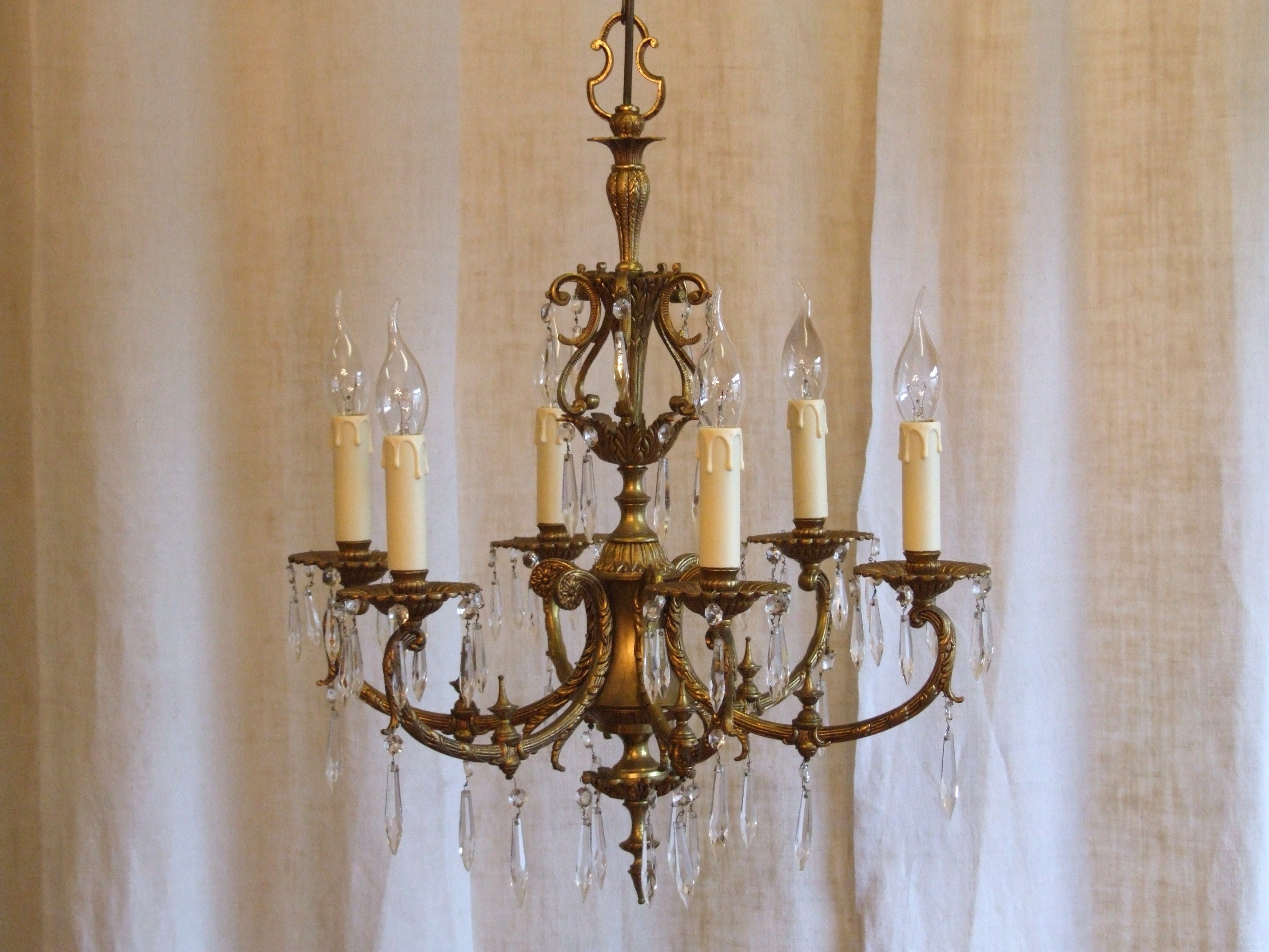 Vintage Italian Chandelier Within Well Known L158/s – Exquisite Vintage Italian 6 Arm Gilded Brass And Crystal (View 18 of 20)