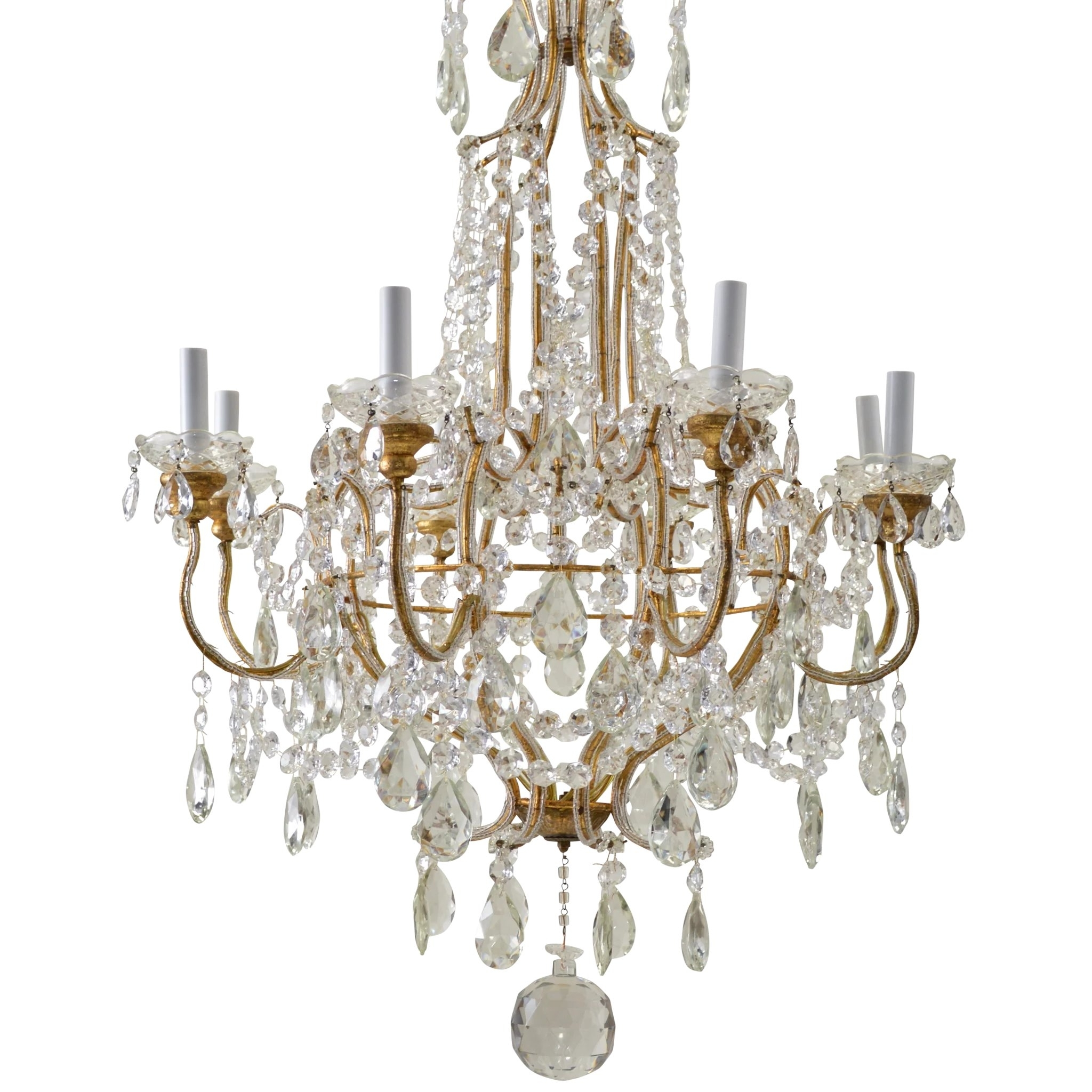 Vintage Italian Gilded Macaroni Beaded Crystal Prism Chandelier – 8 Throughout Famous Vintage Italian Chandeliers (Gallery 18 of 20)