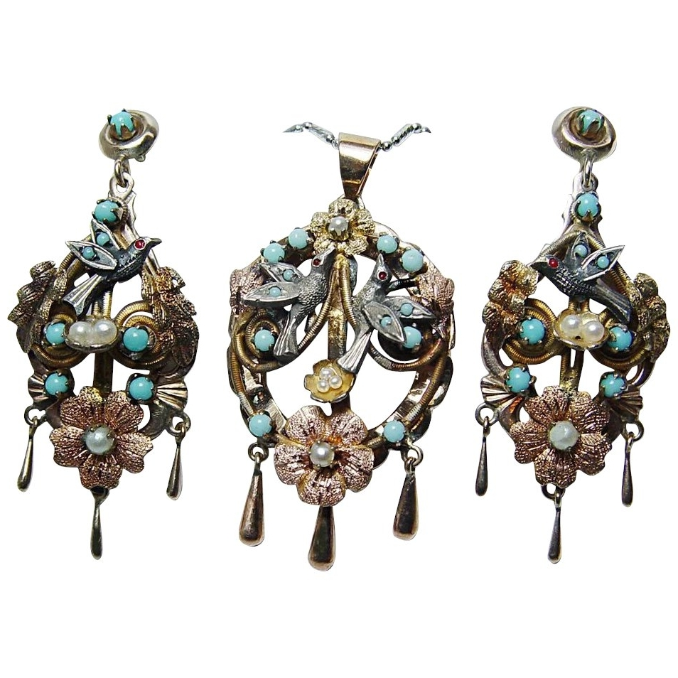 Vintage Turquoise Bird Swallow Nest Chandelier Pendant Earrings Set For Fashionable Turquoise Gem Chandelier Lamps (View 20 of 20)