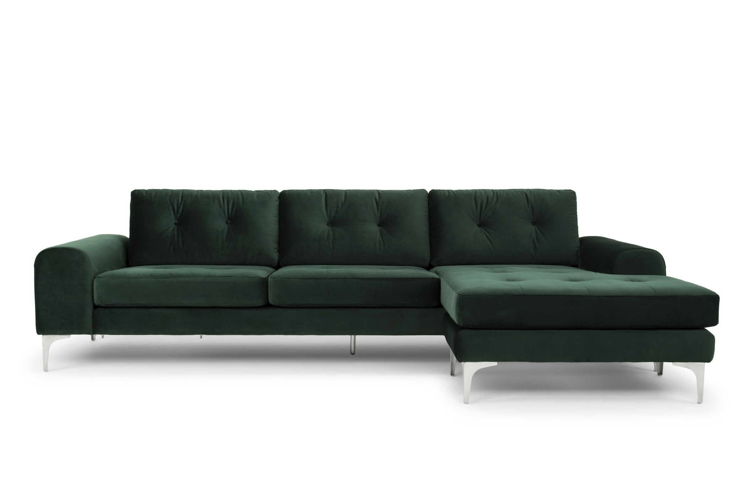 Visalia Ca Sectional Sofas Regarding Newest Colyn Sectional Sofa In Emerald Green And Brushed Stainless (View 16 of 20)