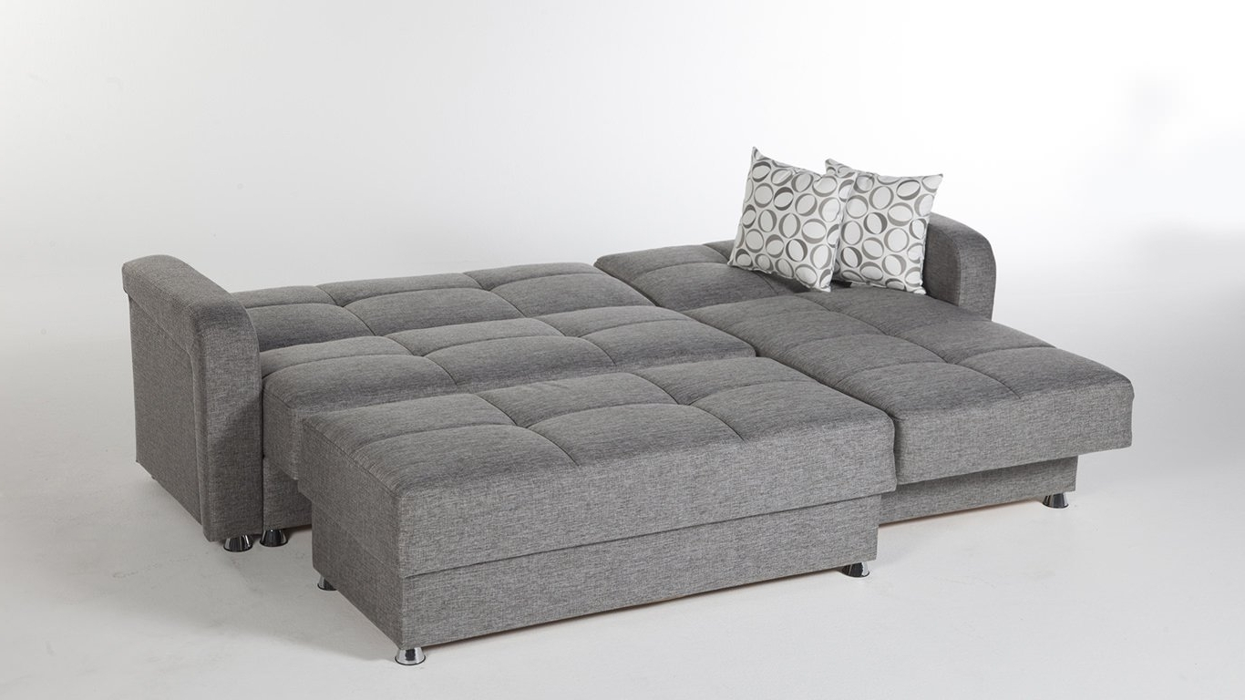 Vision Diego Gray Sectional Sofaistikbal (sunset) For Trendy Sectional Sofas With Sleeper (View 6 of 20)