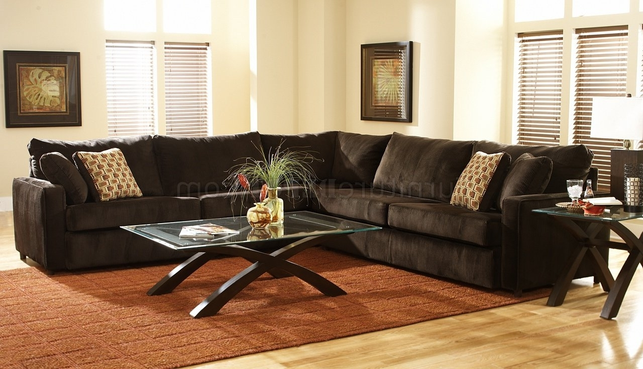 Viva Chocolate Fabric Modern Sectional Sofa W/large Back Pillows For Most Current Michigan Sectional Sofas (Gallery 4 of 20)