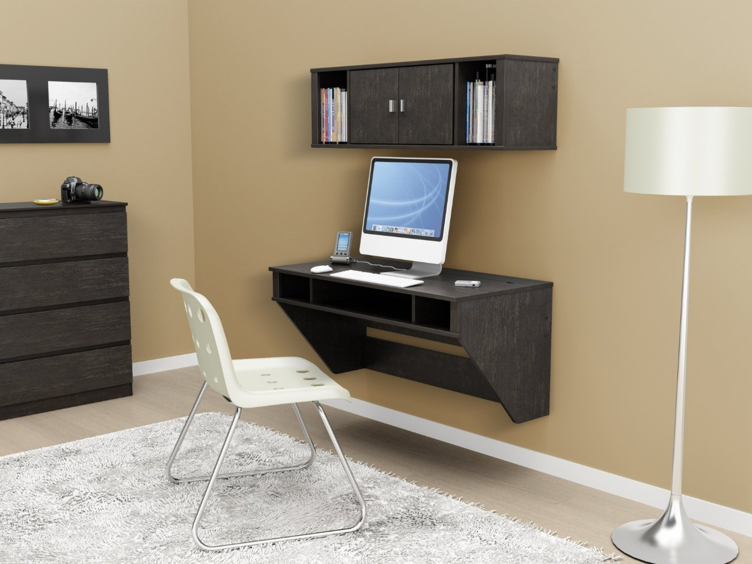 Wall Computer Desks With Regard To Recent Luxury Home Office Ideas With Wall Mount Computer Desk And Floor (View 4 of 20)