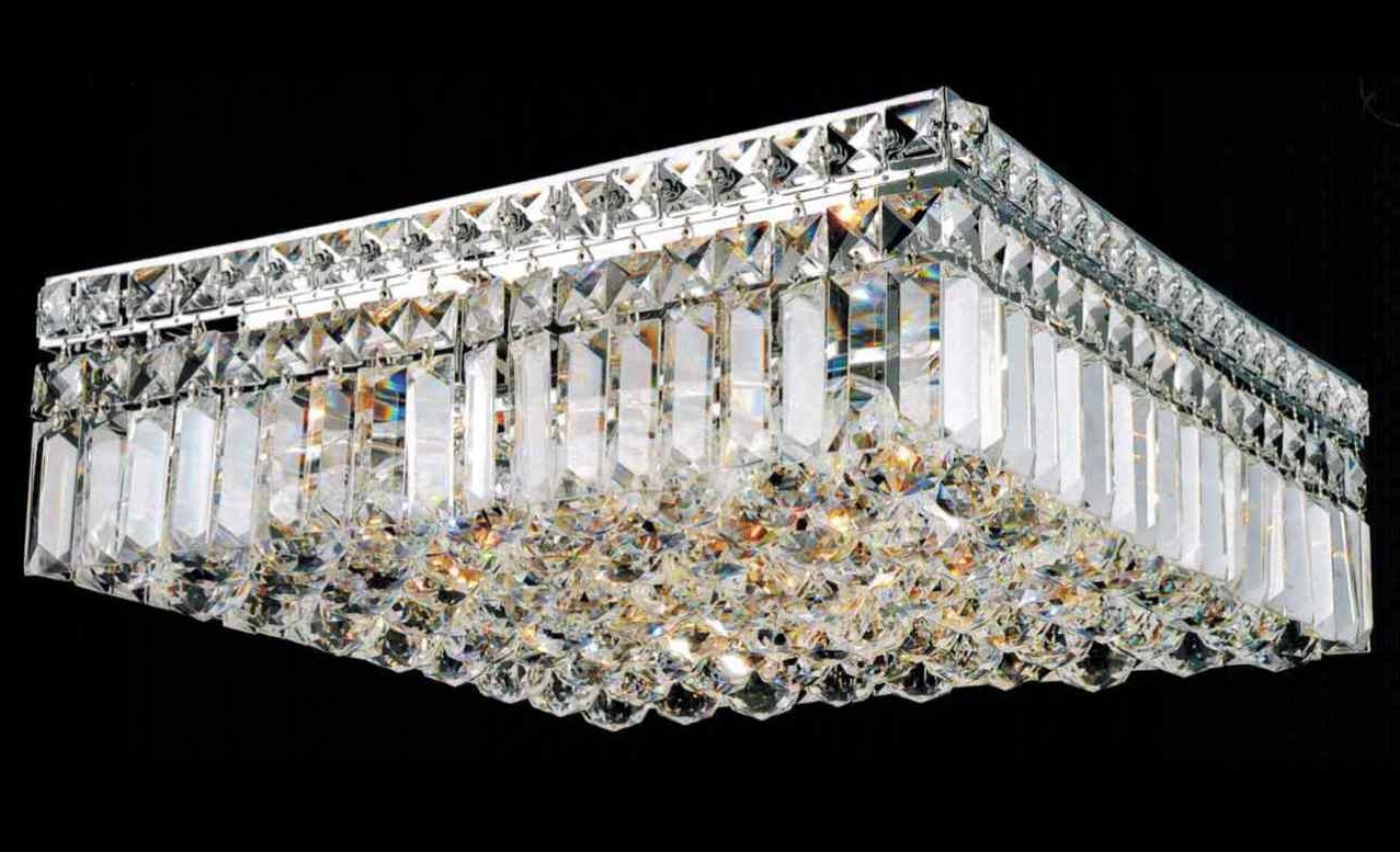 Wall Mount Crystal Chandeliers Inside Trendy Chandelier : Candice Chrome And Crystal Semi Flush Mount Chandelier (View 9 of 20)