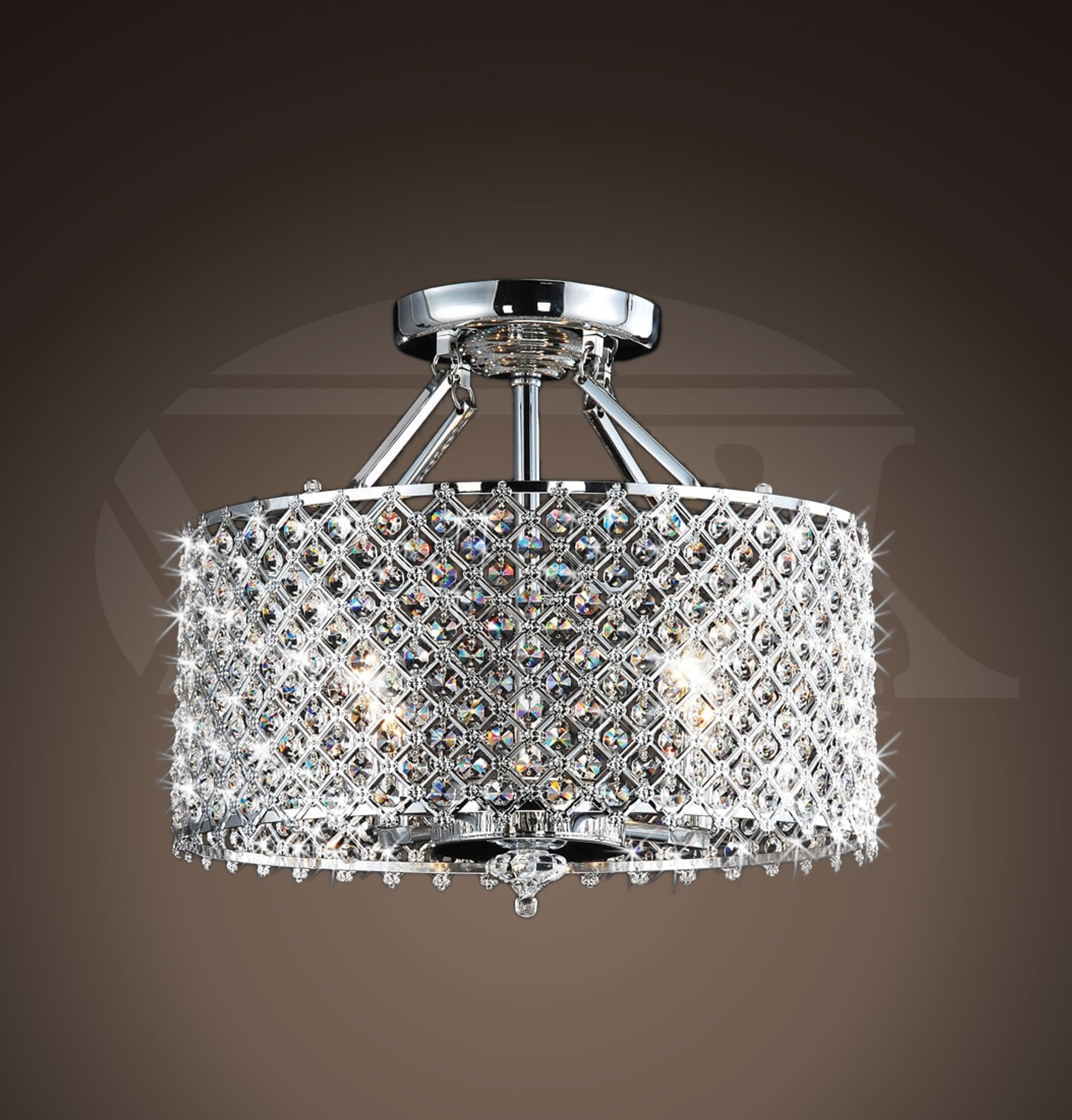 Wall Mount Crystal Chandeliers Throughout Best And Newest Helina Chrome And Crystal 4 Light Round Ceiling Flush Mount (View 15 of 20)