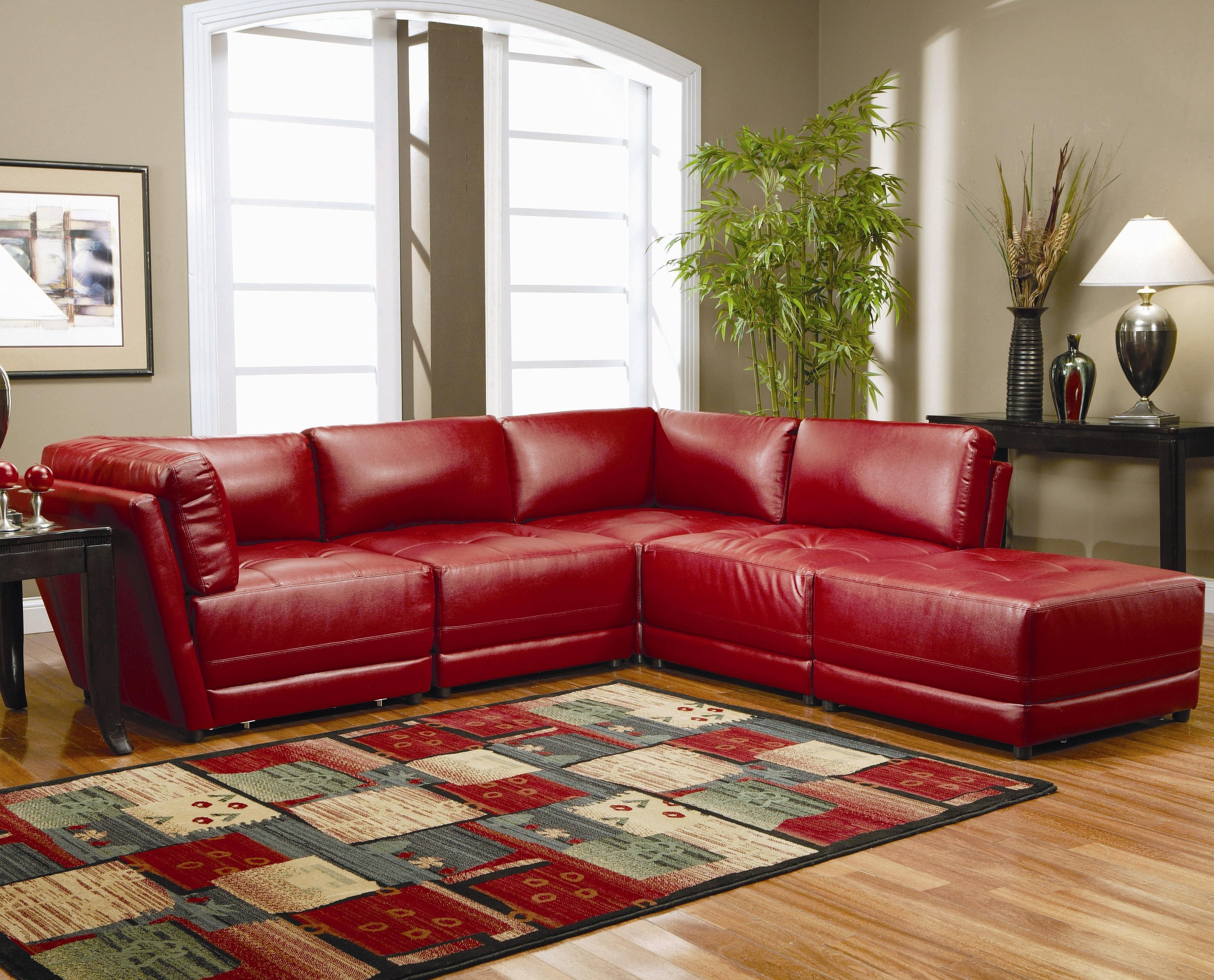 Warm Red Leather Sectional L Shaped Sofa Design Ideas For Living With Best And Newest Green Bay Wi Sectional Sofas (Gallery 15 of 20)
