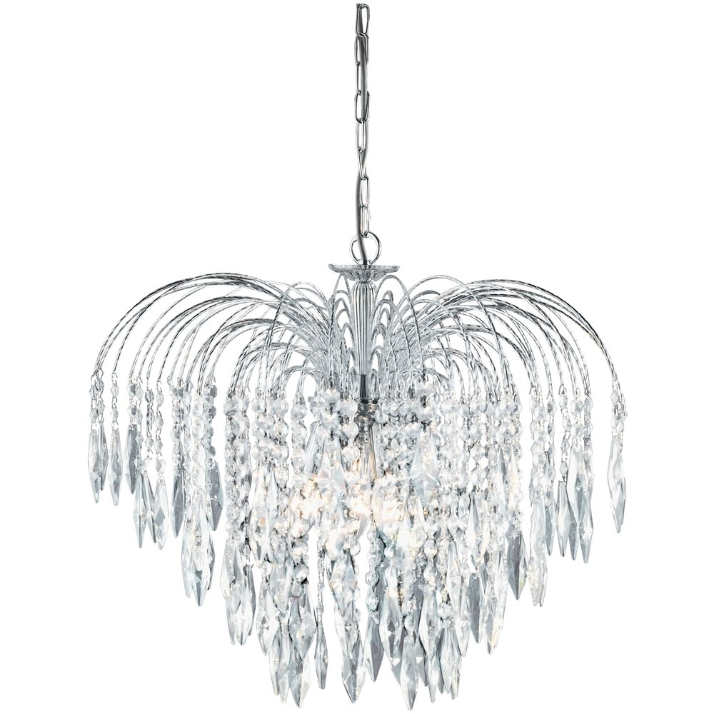 Waterfall Chandeliers Regarding Famous Searchlight 4175 5 Waterfall Crystal Chandelier Finished In Chrome (View 3 of 20)