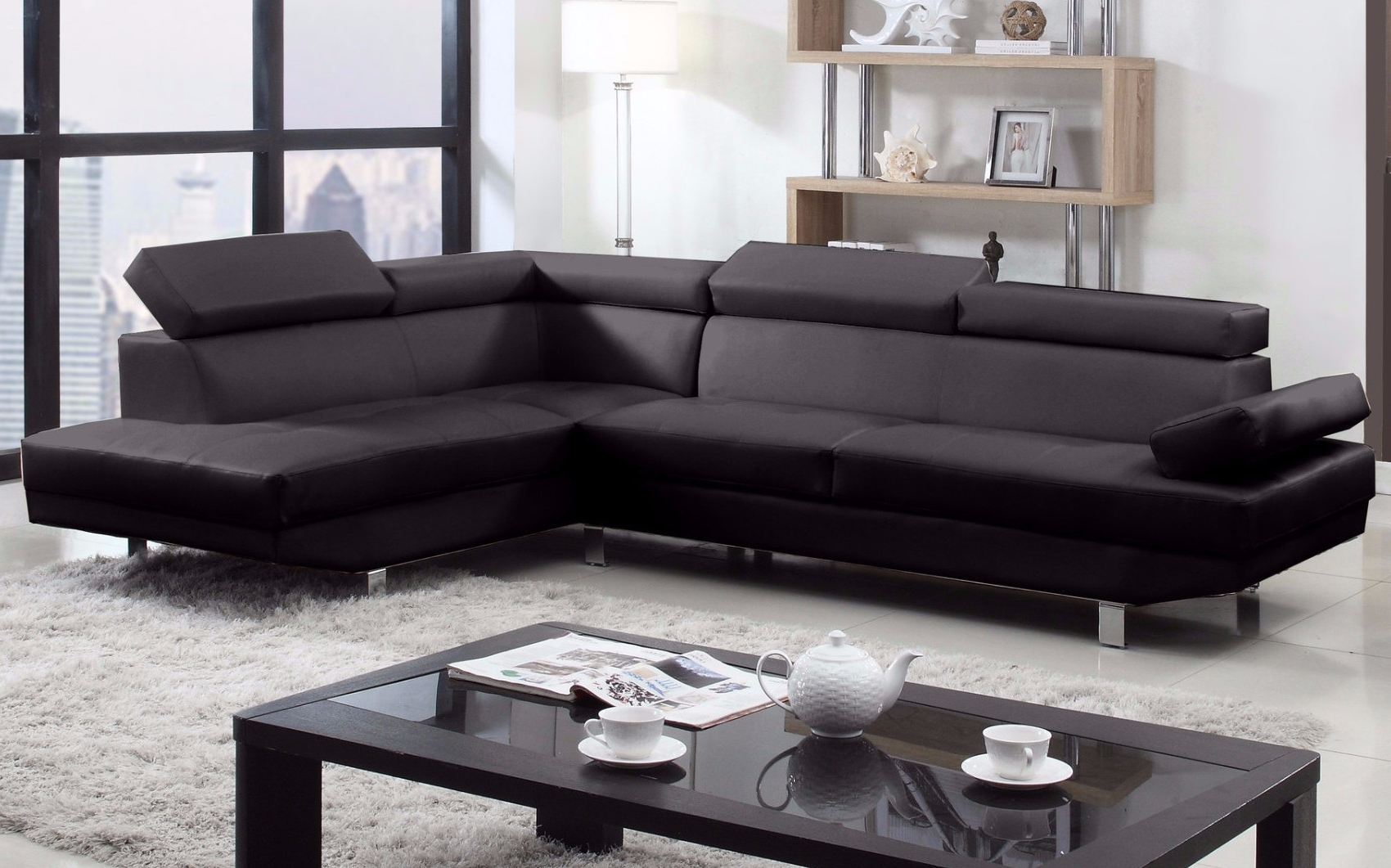 Well Known 2 Piece Modern Bonded Leather Right Facing Chaise Sectional Sofa Pertaining To 2 Seat Sectional Sofas (View 15 of 20)