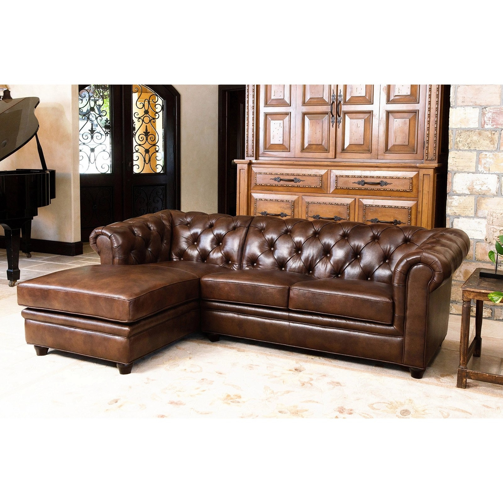 Well Known Abbyson Woodland Premium Italian Leather Sectional Sofa (View 19 of 20)