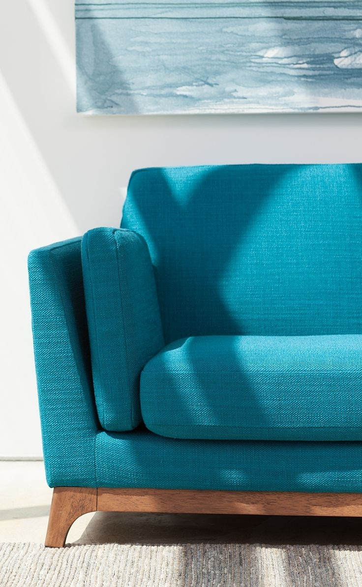 Well Known Aqua Sofas In Beautiful, Solid Honey Oak Base Grounds This Vibrantly Colored Mid (View 4 of 20)