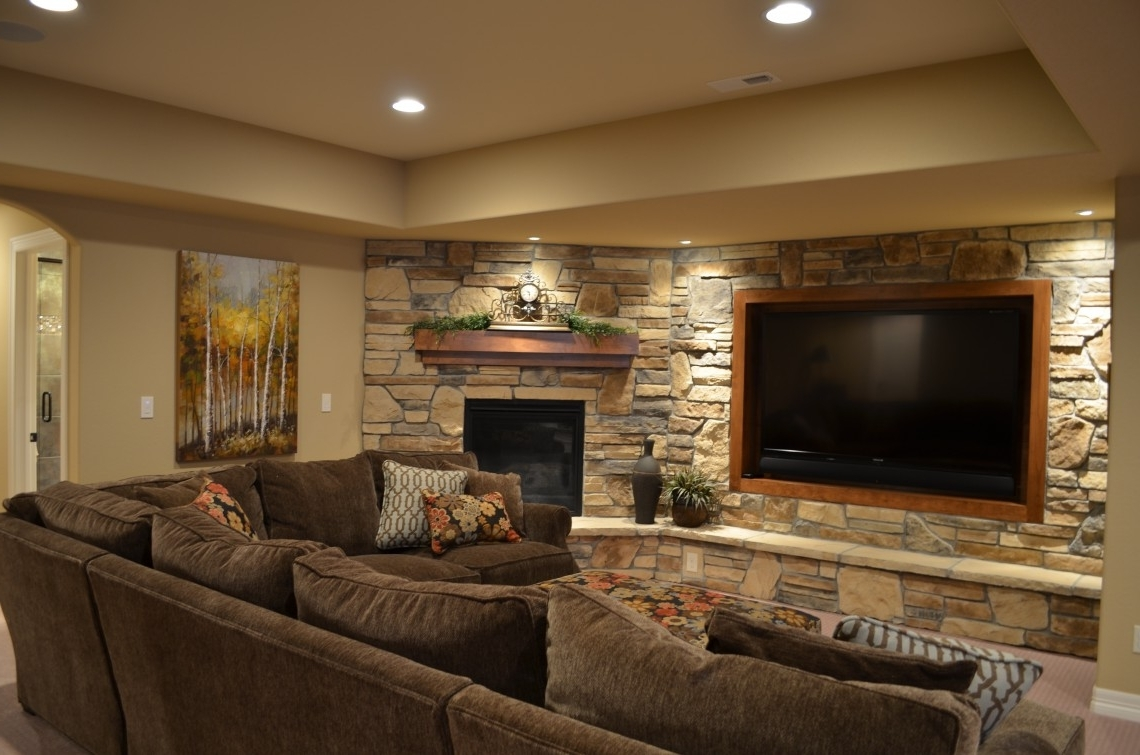 Well Known Astonishing Stone Wall In Cool Basement Ideas For Media Room With With Regard To Media Room Sectional Sofas (View 14 of 20)