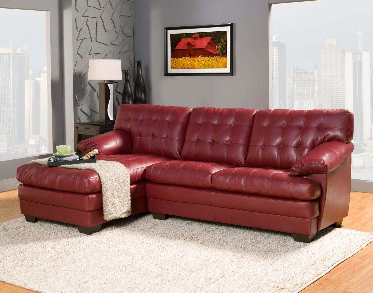 Featured Photo of Red Leather Sectionals With Chaise