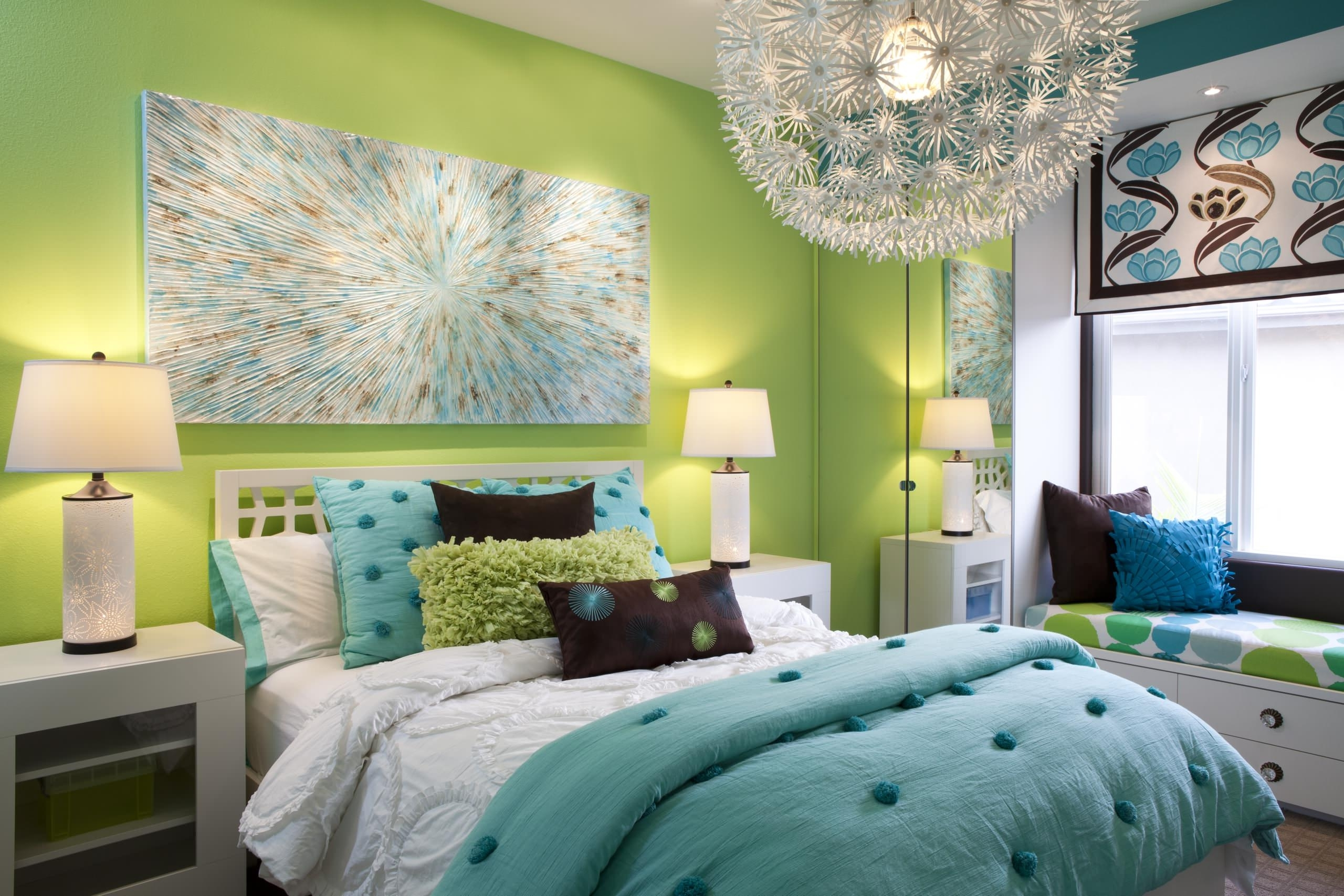 Well Known Bedroom: Nice Turquoise Bedroom Ideas With White Bed And Built In Intended For Turquoise Bedroom Chandeliers (View 17 of 20)