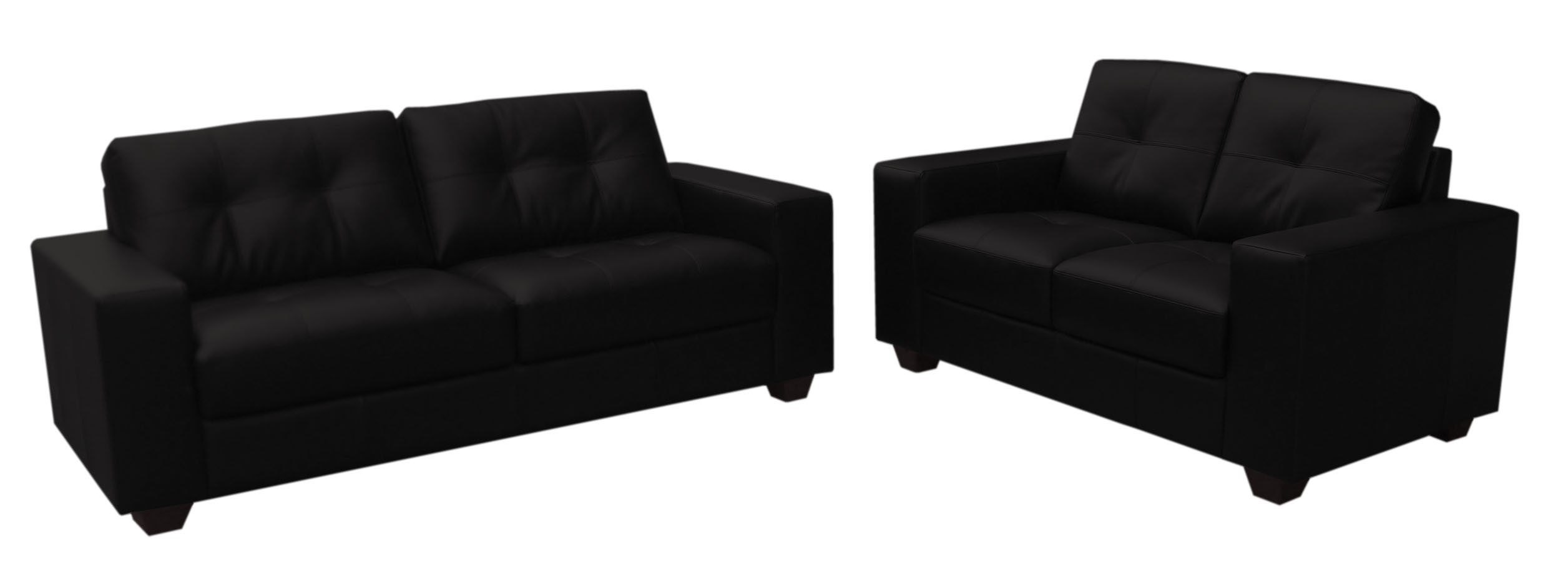 Well Known Black 2 Seater Sofas Intended For Faux Black Leather Sofa Two Piece Suite 3+2 Seater – Furniture (View 3 of 20)