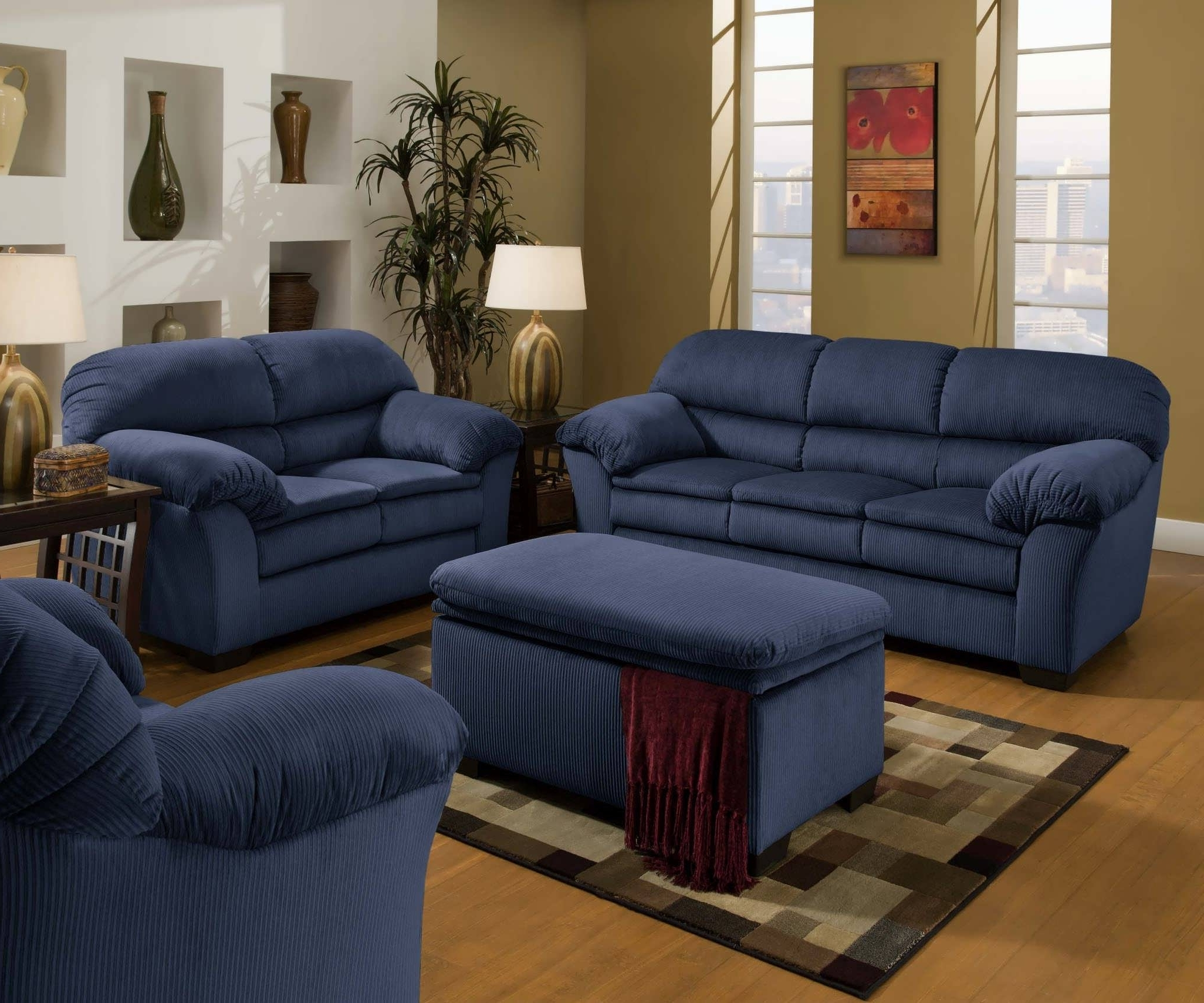 Well Known Blue Sofa Chairs Pertaining To Blue Sofa Set Large Office Chairs Ottomans & Storage Dressers 17Ec (View 10 of 20)