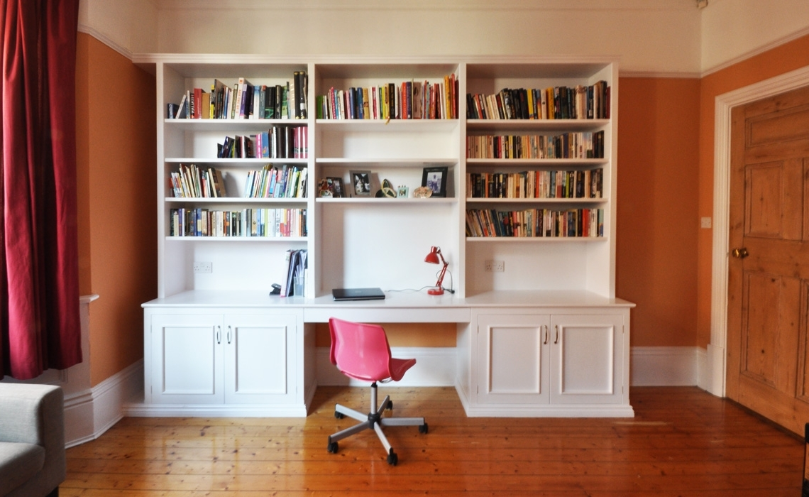 Well Known Bookcases Ideas Computer Desk With Built In 4 Shelf Bookcase Pertaining To