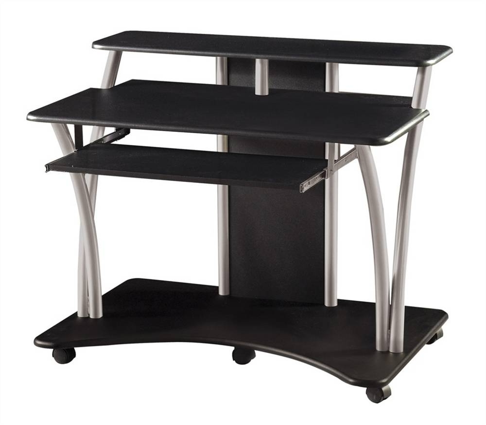Well Known Brilliant Black Computer Desk Black Computer Desk For Home Office Inside Computer Desks With Wheels (View 18 of 20)