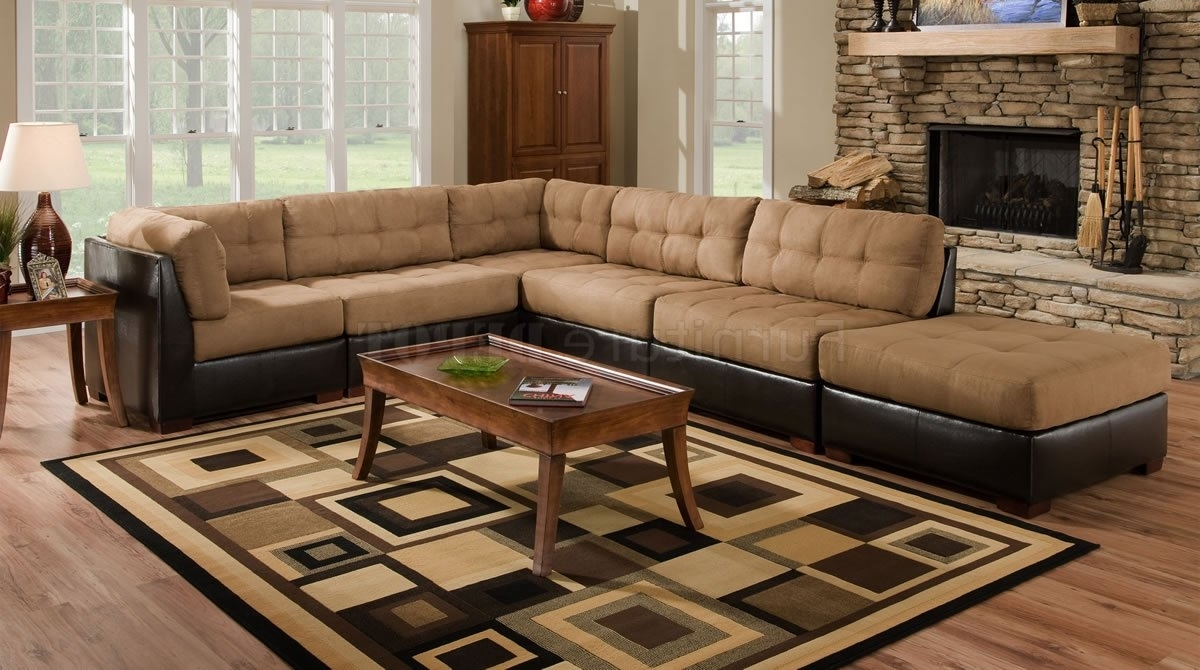 Well Known Camel Fabric Sectional Sofa W/dark Brown Faux Leather Base (View 13 of 20)