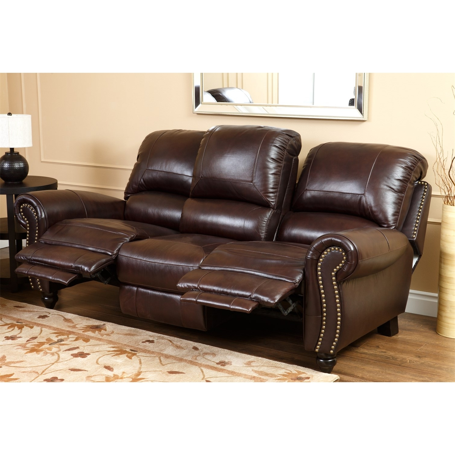 Well Known Canterbury Leather Sofas With Regard To Abbyson Living Ch 8857 Brg 3/1 Canterbury Leather Pushback (View 4 of 20)