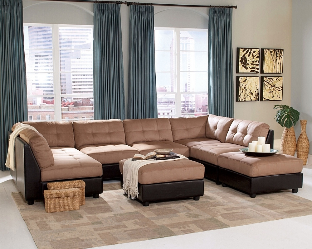 Well Known Coaster 551001 6 Pc Claude Collection Two Tone Modular Sectional Pertaining To Leather And Suede Sectional Sofas (View 18 of 20)