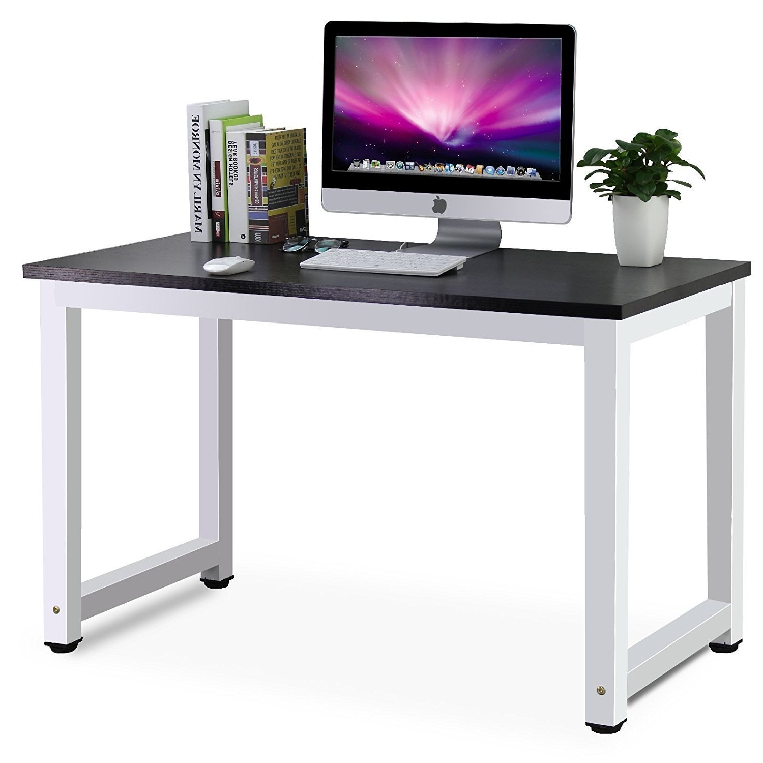 Well Known Computer Desks And Workstations Inside Tribesigns Modern Simple Style Computer Desk Pc Laptop Study Table (View 19 of 20)