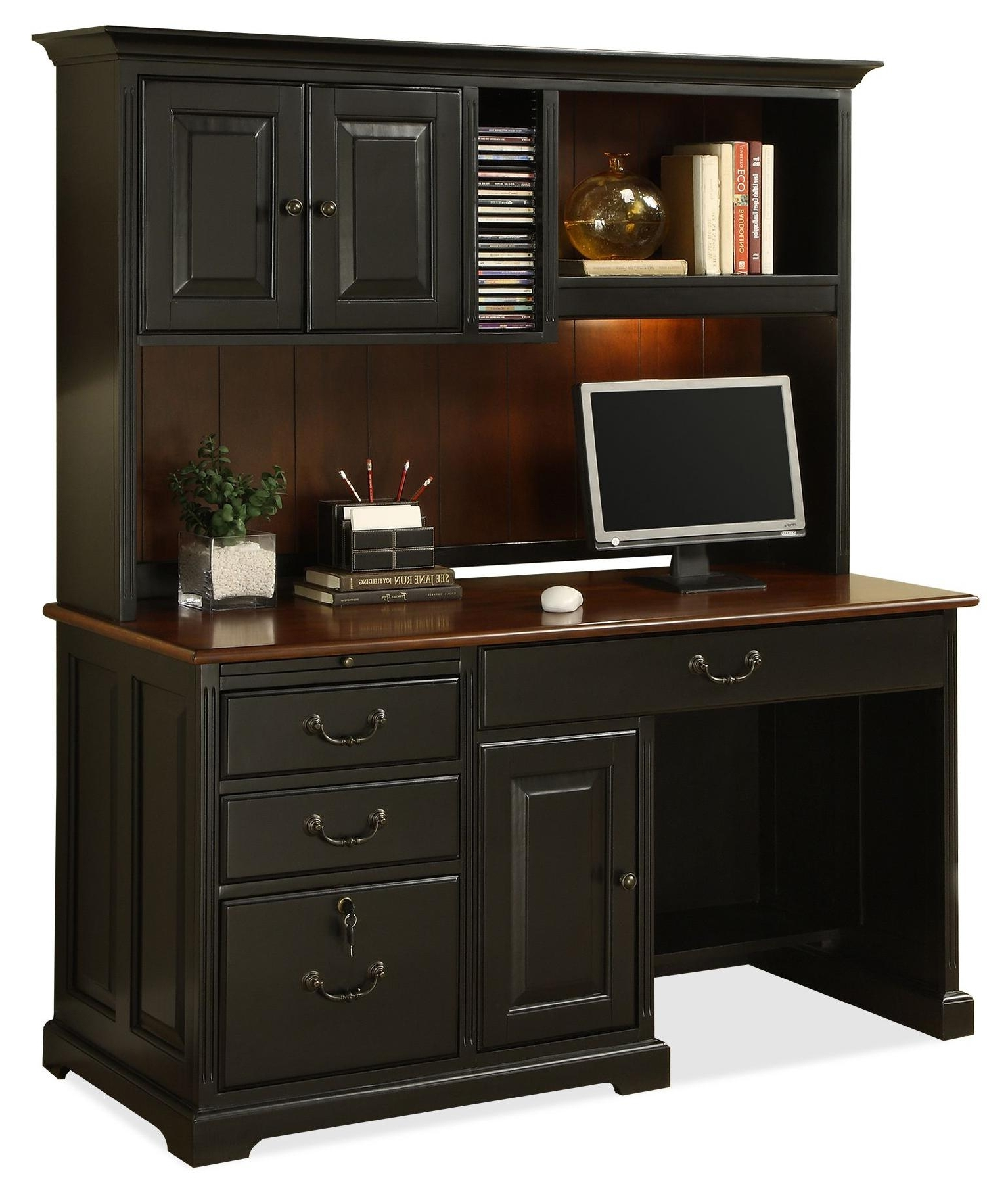 Well Known Computer Desks With Shelves Regarding Riverside Furniture Bridgeport Single Pedestal Computer Desk With (View 18 of 20)