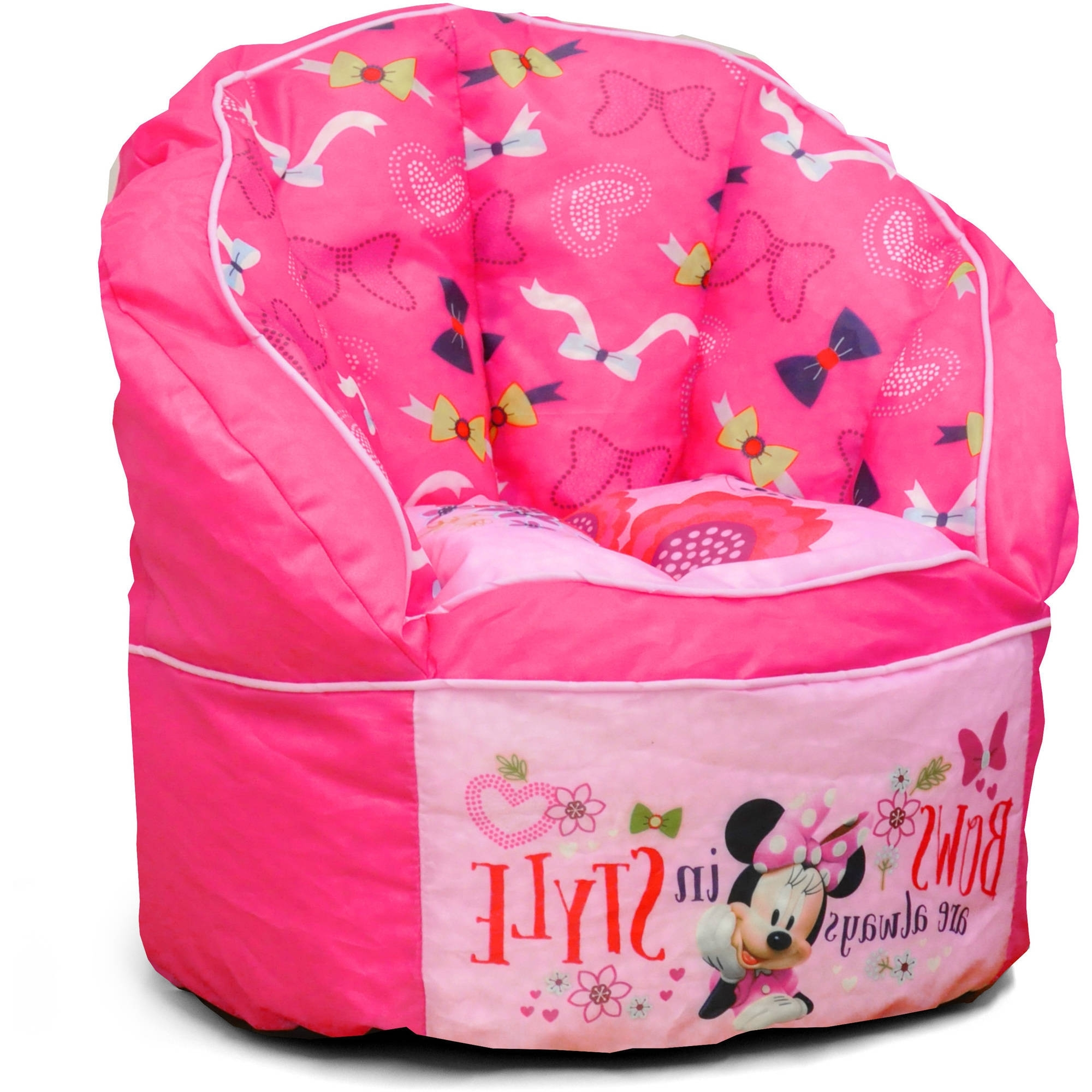 Well Known Disney Minnie Mouse Sofa Bean Chair With Piping – Walmart Intended For Disney Sofa Chairs (View 18 of 20)