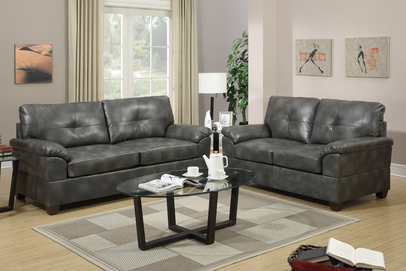 Well Known Elimination Grey Leather Sofa And Loveseat Set – Steal A Sofa Pertaining To Grey Sofa Chairs (View 17 of 20)