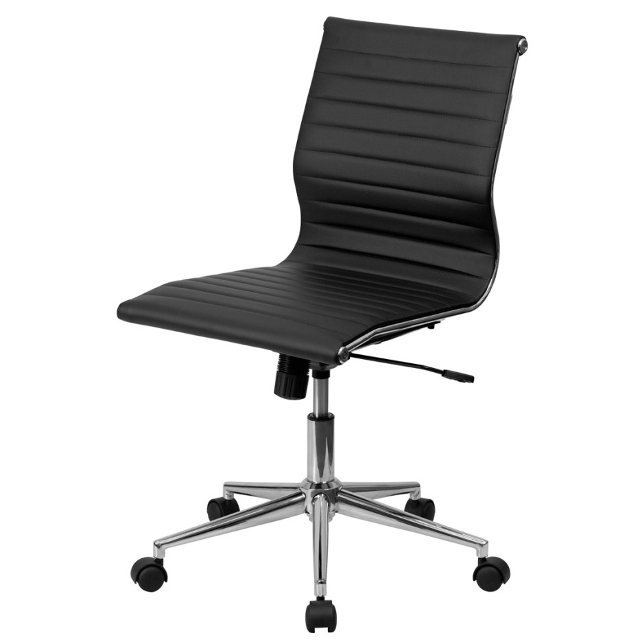 Well Known Executive Office Chairs Without Wheels Regarding Black Vinyl Office Chair With Pneumatic Pump And Caster Wheels (View 18 of 20)