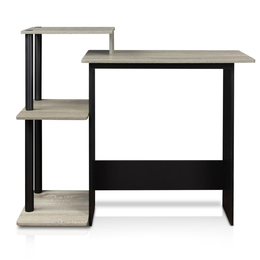 Well Known Furinno Efficient French Oak Grey And Black Home Computer Desk Throughout Computer Desks At Home Depot (View 18 of 20)