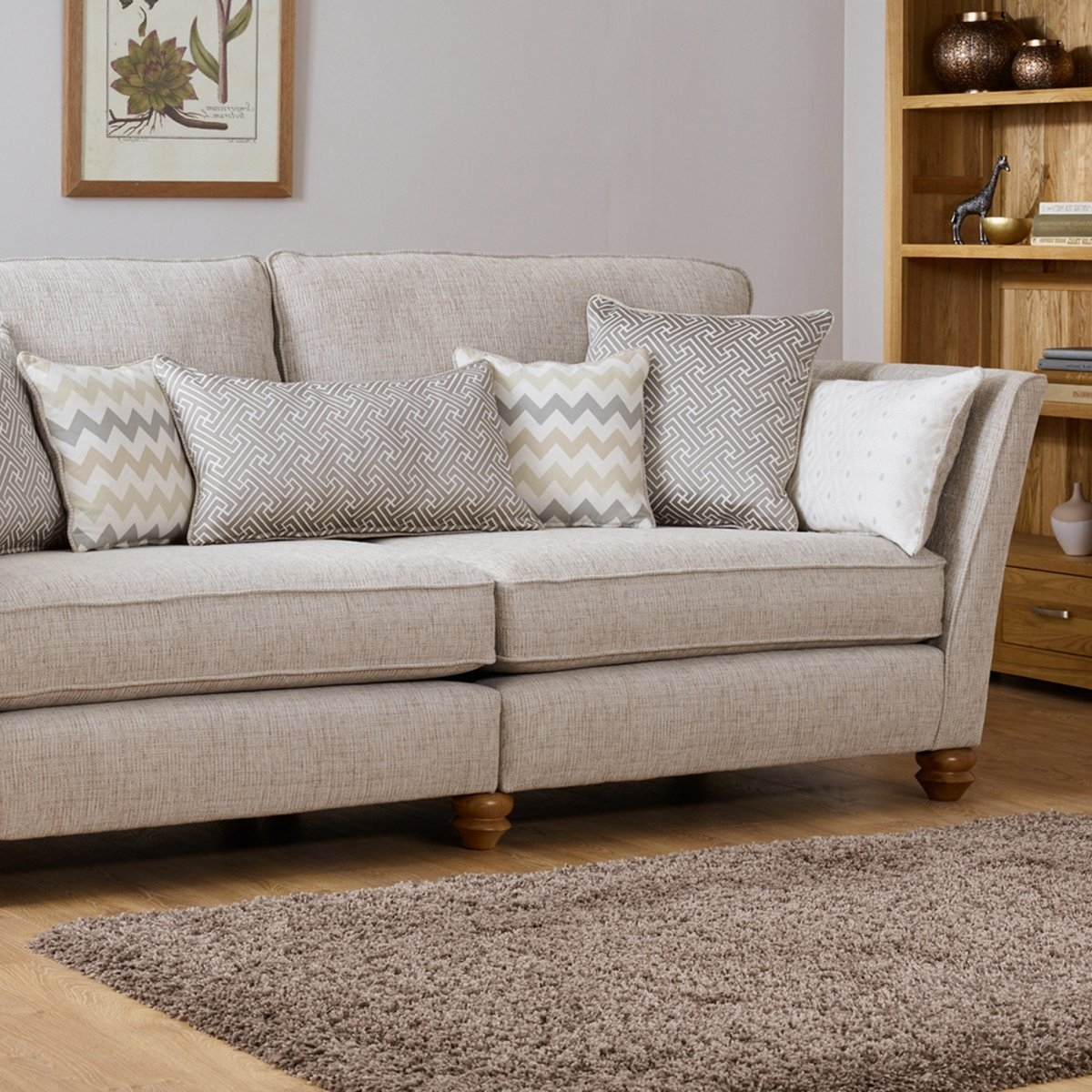 Well Known Gainsborough 2 Seater Sofa In Beigeoak Furniture Land Regarding Four Seater Sofas (View 18 of 20)