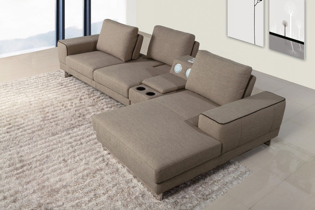 Well Known Gatsby Modern Fabric Sectional Sofa W/ Beverage Console And With Sectional Sofas With Consoles (View 4 of 20)