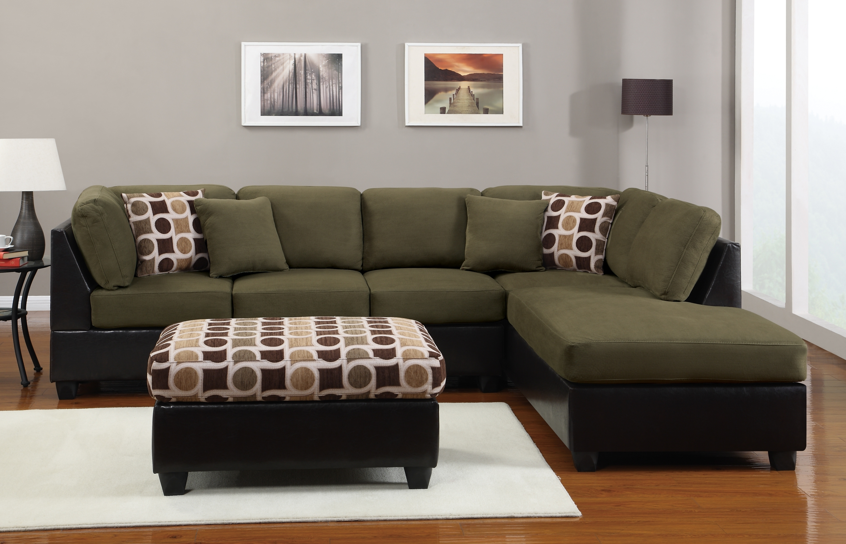 Well Known Green Sectional Sofas With Chaise For Espresso Leather Sectional Sofa With Right Chaise Lounge Using (View 9 of 20)