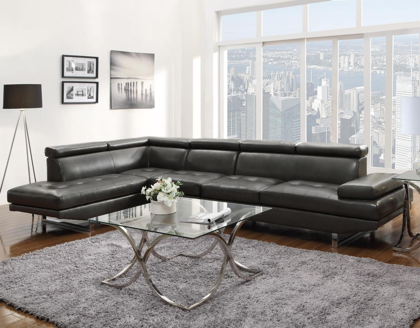 Well Known Grey Leather Sectional Sofa – Steal A Sofa Furniture Outlet Los Within Sleek Sectional Sofas (View 8 of 20)