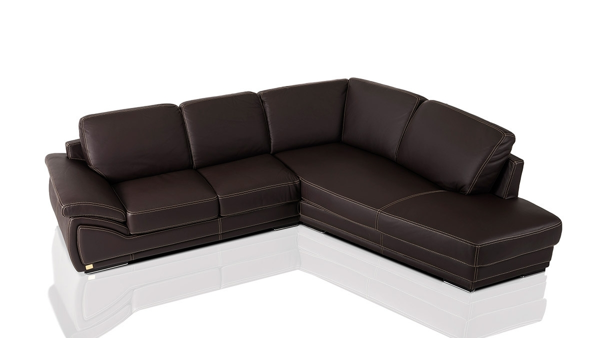 Well Known Holiday Modern Chocolate Leather Sectional Sofa Made In Italy With Regard To Chocolate Brown Sectional Sofas (View 20 of 20)