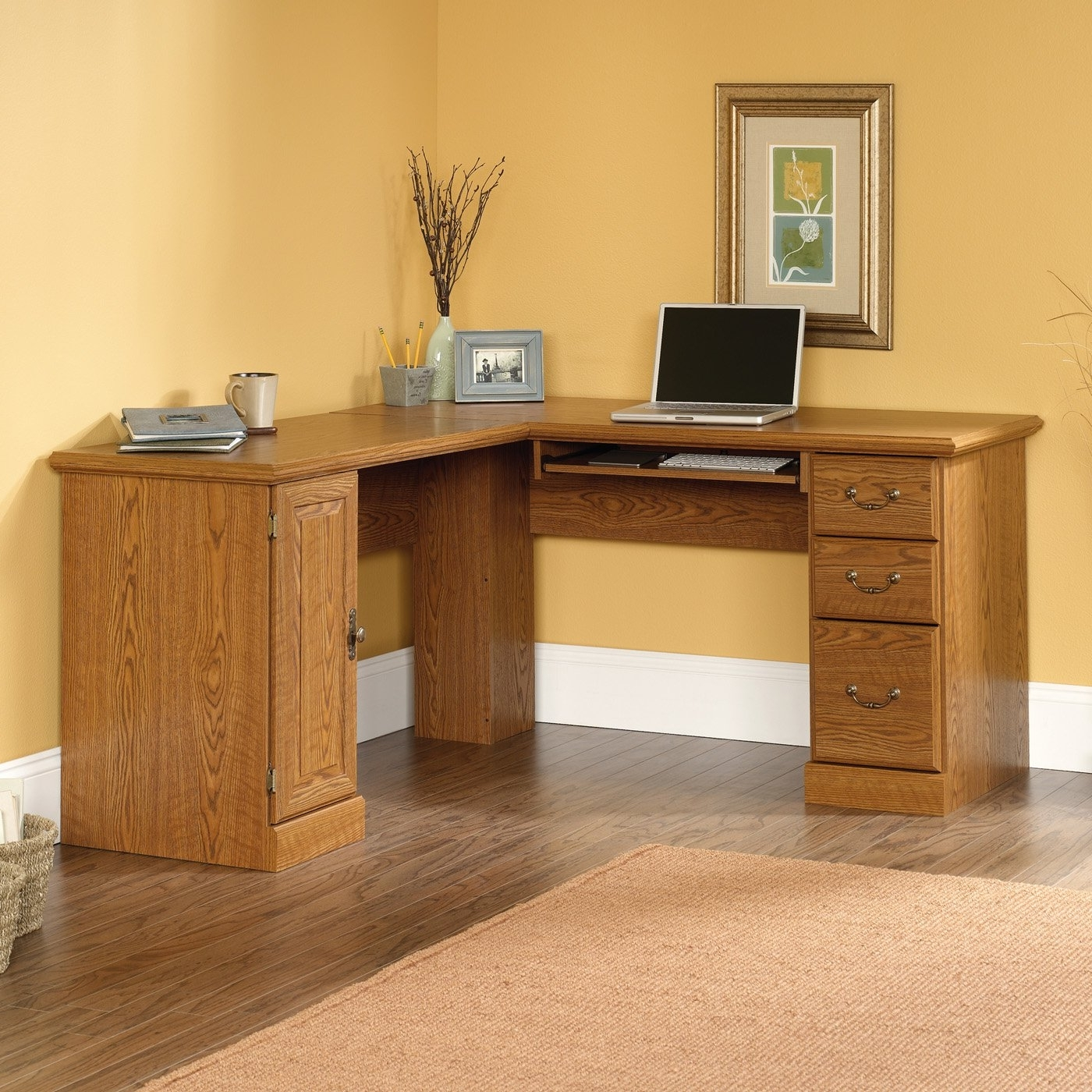 Well Known Home Office Corner Desk Decorating Space Wall For Small Desks Idolza Inside Teak