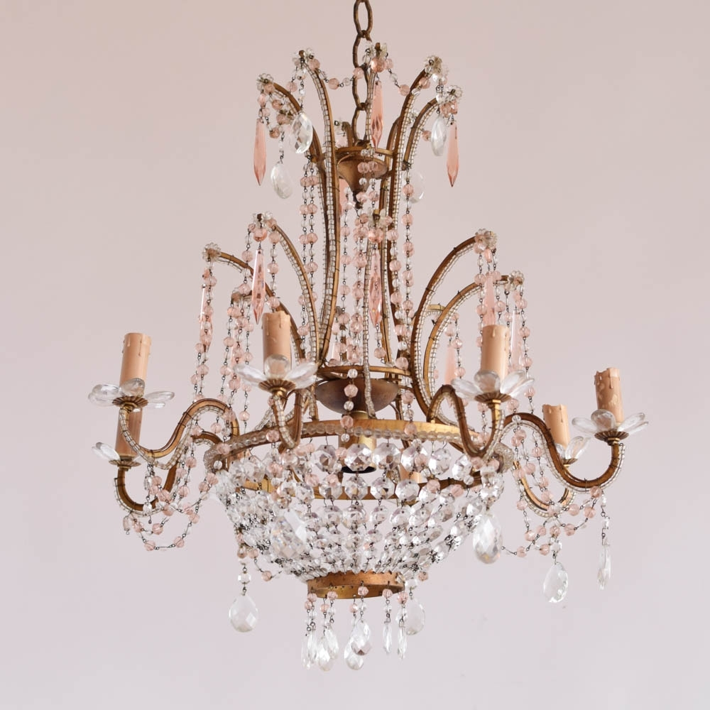 Well Known Italian Chandelier W/pink Crystals – The Big Chandelier With Regard To Vintage Italian Chandelier (View 10 of 20)