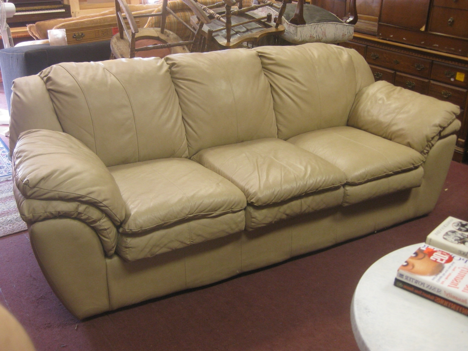 Well Known Light Tan Leather Sofas For Uhuru Furniture & Collectibles: Sold – Tan Leather Sofa – $ (View 1 of 20)