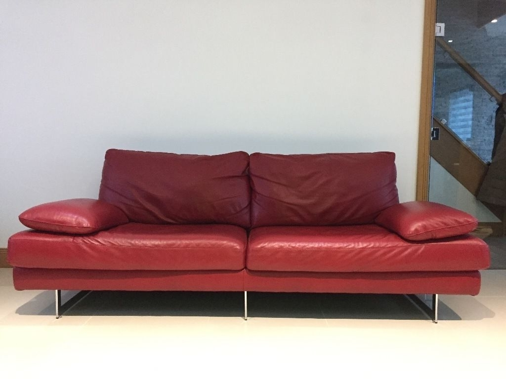 Well Known Modern 3 Seater Sofas In Real Leather Red Italian Modern Sofa 3 Seater Plus 2 Seater Like (View 19 of 20)